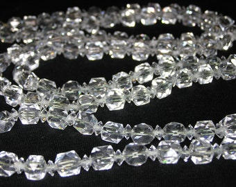 Art Deco Faceted Rock Crystal Wedding Flapper Necklace