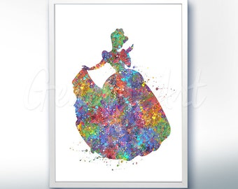 Disney Cinderella Watercolor Poster Print [5] - Motivational Quote - Watercolor Painting - Watercolor Art - Kids Decor- Nursery Decor [1]