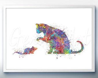 Cat and Mouse Watercolor Art Print  - Watercolor Painting - Cat and Mouse Watercolor Art Painting - Home Decor -House Warming Gift