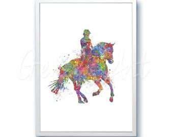 Horse Riding Watercolor Art Print  - Home Living - Animal Painting - Horse Poster - Wall Decor - Home Decor - House Warming Gift