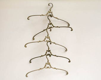 5 French Antique Brass Clothes Hangers