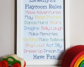 Personalised Playroom Rules - Rainbow Rules Wall Decor - Boys Playroom Print - Bedroom Poster - Boys Rules - Personalised Nursery Rules