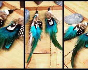 Beautiful blue gypsy feather earrings.