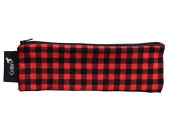 Ready to ship Reusable Snack Bag - Red Plaid with zipper