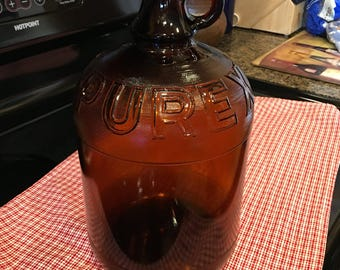 Vintage 1950's 1 Gallon Brown Crystal PUREX Large Bottle with Cap from Orignal Jug