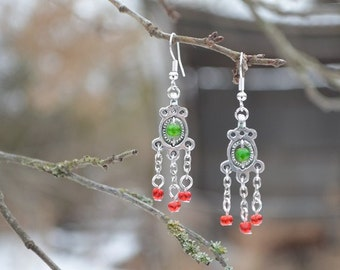 "earrings ""town Ostrovsky"", Handmade earrings in pewter with beads, Reconstruction of the IX century, The gift for woman"