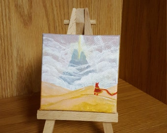 "Journey, 2 3/4"" × 2 3/4"" Acrylic Mini Painting"