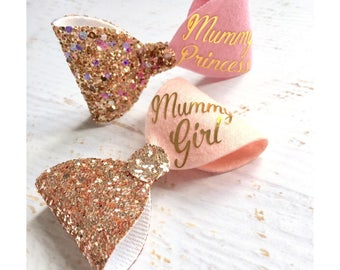 Pink hair bow, gold glitter hair bow, pink glitter hair bow, personalised hair bow, hair accessories,