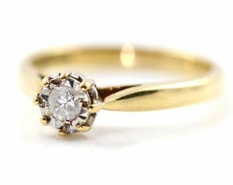 Vintage 90's Diamond 9ct Gold Illusion Set Ring