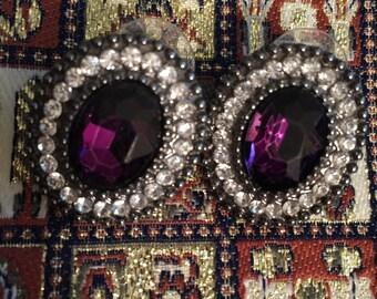 Vintage Dark Purple Earrings with Sparking Rhinestones-Studs Post Purple Earrings