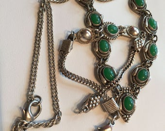 Antique Turkish Silver Jade Necklace and Bracelet Set-Antique Jade Jewelry-Free Domestic and International Shipping