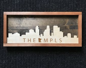 "Minneapolis Skyline Wooden Art ""THE MPLS"""
