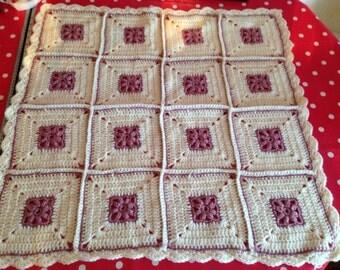 Crochet Blanket - Baby blanket -Baby shower gift - Dark Pink & Cream - Afghan Granny Square