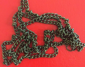 """Antique Bronze Chain 54"""" long Iton Necklace Chain Finding Open Link"""