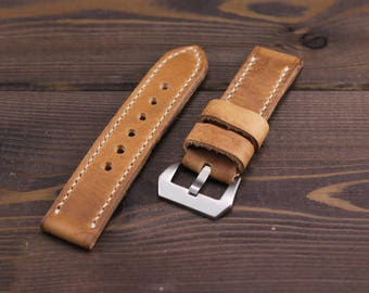 Handmade Panerai vintage style watch strap 24mm. Made of high quality vegetable tanned leather. Stitched durable waxed thread. Pre-v buckle.