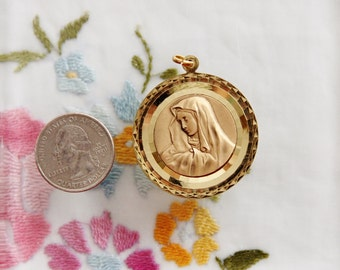 Large Vintage Catholic Medal of the Virgin Mary as OUR LADY of SORROWS Mater Dolorosa
