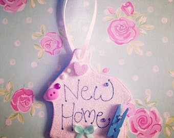 Embellished handmade hanging sign new home keepsake gift