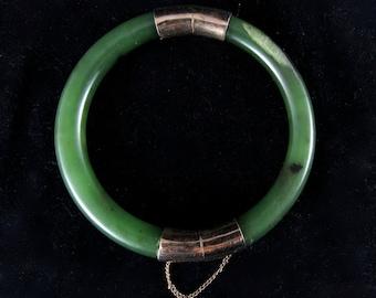 Natural green jade bangle