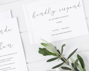 Modern Calligraphy Wedding Invite - Melinda Wedding Suite - SAMPLE - Wedding Invitation, Simple Wedding Invitation