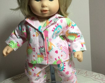 Flannel pajamas for 15 inch baby dolls
