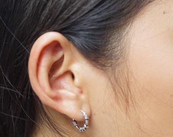 Silver Ear Hoops, Bali Hoops, 14mm Oxidized Silver Hoop, Silver Wired Earrings, Minimal Ear Hoops, Casual Hoops, BohoChic (E42)