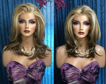 Multi-tone Blonde Multi Parting Human Hair Blend Straight Layered Lace Front Wig