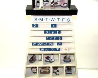 "19"" Lighthouse Perpetual Calendar w/ Miniature Lighthouse Collection"