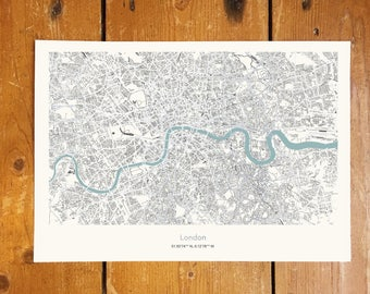 Silver Metallic London Coordinates Map With Sky Blue River