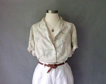 Vintage 100% silk floral button down short sleeve blouse women's size M/L/XL