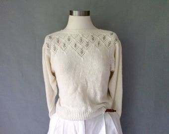 vintage silk angora embroidery woven short sweater size S/M