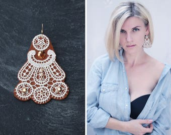 Festival jewelry Bohemian|jewelry leather earring gift|for|friend Jewellery brown white Free brown casual earring lace earring leather