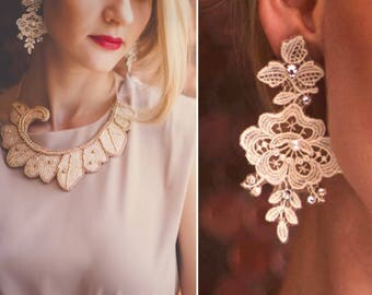 jewelry for brides luxury bridal flower bridal lace pearl luxury earring  bohemian wedding statement earrings bridal lace earring retro lace