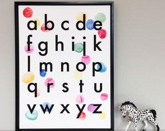 Imprimé des alphabet confettis enfants enfants cadeau à Illustration affiche murale contemporaine Art abstrait salle de jeux décor Monochrome Style scandinave