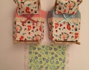 Handmade bedding and rug set to fit Sylvanian Families Twin/Bunk beds. Forest Animal design