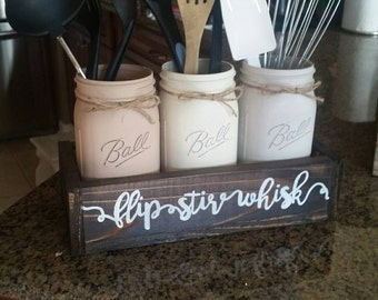 rustic kitchen decor - kitchen decor - mason jar utensil holder - mason jar decor - farmhouse kitchen decor - flip stir whisk utensil holder