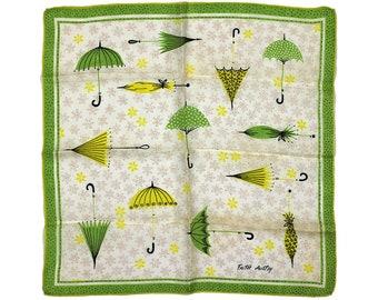 Vintage Faith Austin Handkerchief, Umbrella Print, Graphics, Green Yellow, Signed Handkerchief, Vintage Handkerchief