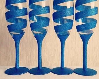 4 x Blueberry Bling Glitter Champagne Glasses