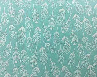 Turquoise and White Feather Fabric, Cotton Fabric Feathers, Quilting Fabric Feathers