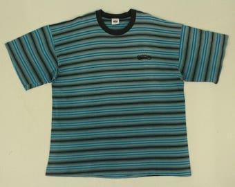 Vintage Quicksilver T Shirt Striped T Shirt Grunge T Shirt Made In USA
