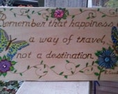 Wood burned happiness plaque or sign with butterflies flowers and vines, painted and decorated with crystals