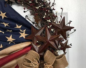 Patriotic wreath, 4th of July, Americana Wreath, Memorial Day, Military and Veterans Day Wreath, Flag wreath