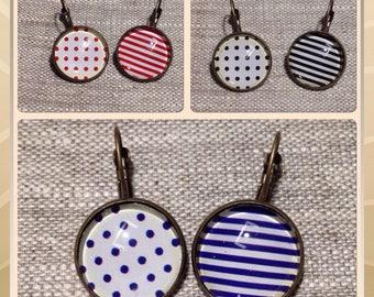 Cabochons glass - polka dots - stripes - black - mismatched Stud Earrings