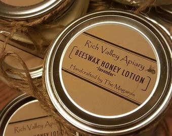 Beeswax Honey Lotion with Essential Oils, Rich Valley Apiary, Homemade from our beehive to you!