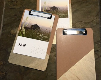 "12 month calendar - global photos - 6x8"" hanging clipboard - hand painted clipboard"