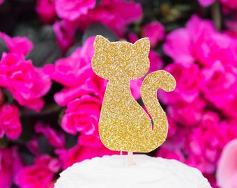 12 Cat Cupcake Toppers, Cat Birthday Party, Party Decor, Gold or Silver Glitter Topper, Cat Cake Toppers, Kitty, Party Food Picks, Kitten