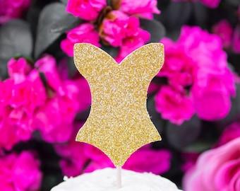 12 Bachelorette Cupcake Toppers, Bridal Shower Decor, Corsete Topper, Lingerie Party Decor, Party Food Picks, Lingerie Shower Cupcake Topper