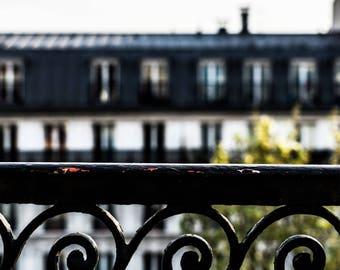 Paris Balcony - Paris Rooftops - Paris Photography - Wall Art Print - Paris Decor - Fine Art Photography  - Balcony Rails - 0028