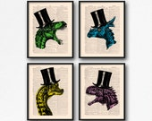 Dinosaur Print Set, Teen Boy Gift Poster, Dinosaur Art Poster, College Room Wall, Cool Dinosaurs, Christmas Print Gift, Coworker Gift S01