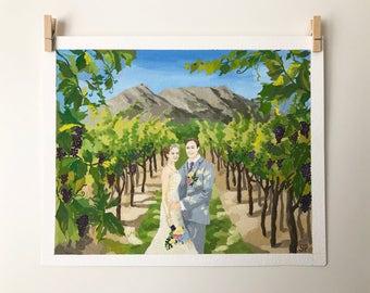 Custom wedding painting / first wedding anniversary gift / wedding venue portrait  / Custom painting