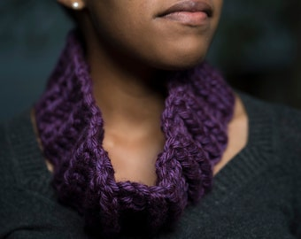 Crochet Ribbed Cowl Scarf